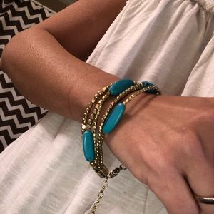 Jewelry - NWT. Turquoise and gold adjustable bracelet.